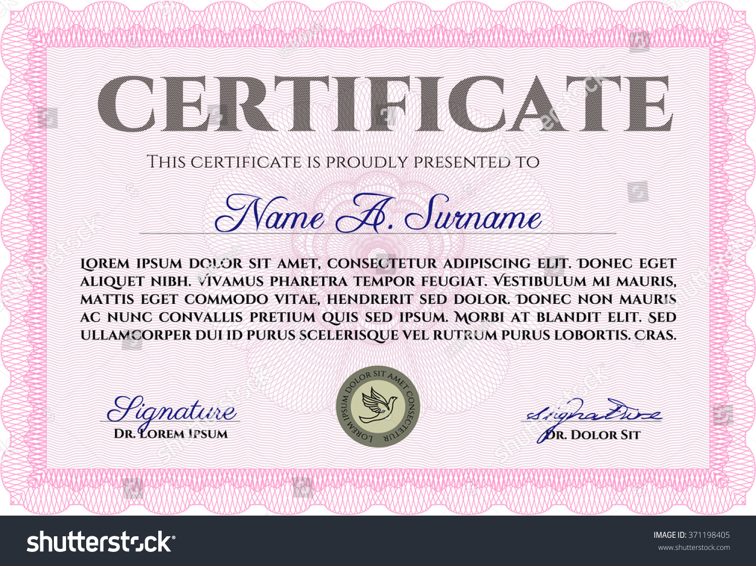 Pink certificate template diploma template superior stock vector pink certificate template or diploma template superior design vector pattern that is used in yelopaper Choice Image