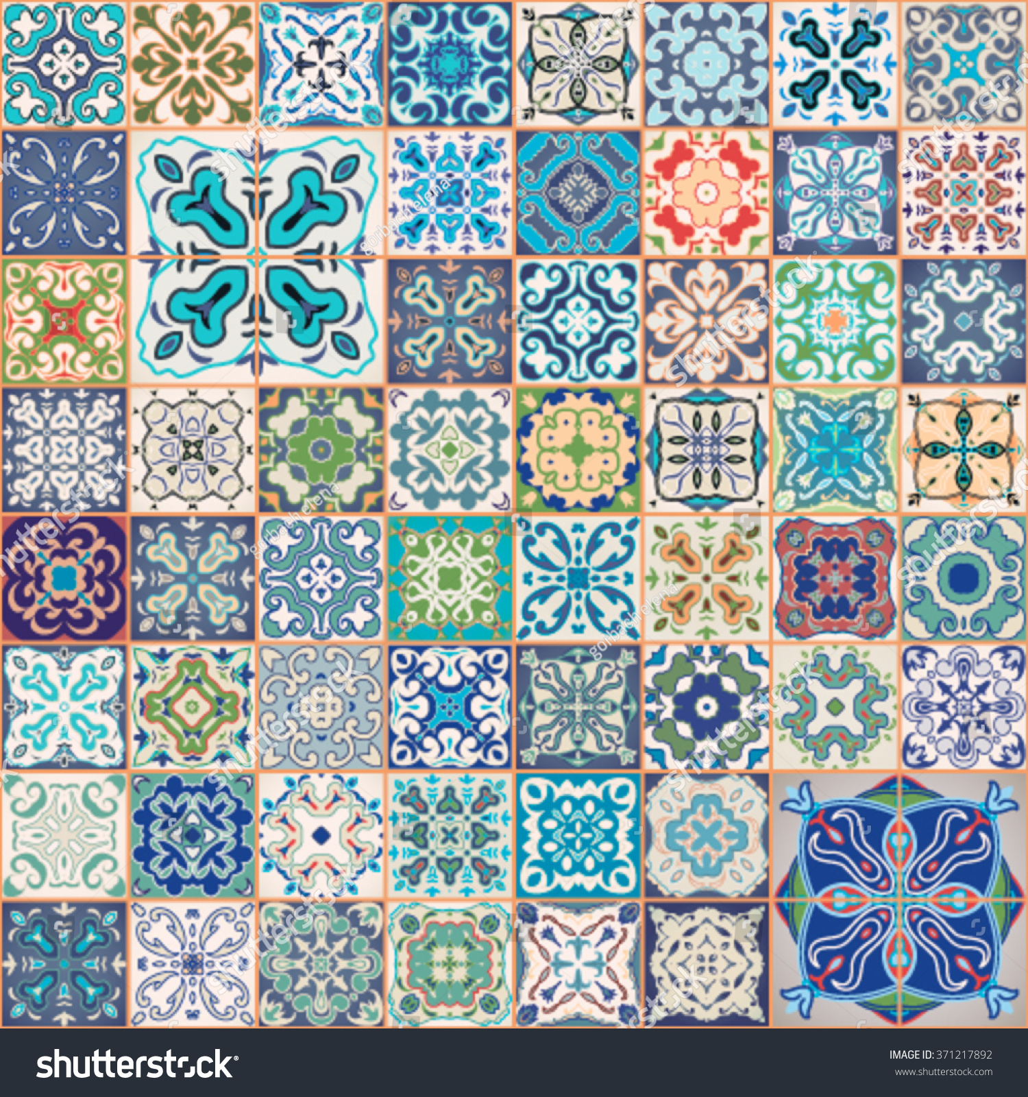 Floral Patchwork Tile Design Colorful Moroccan Stock Vector (Royalty ...