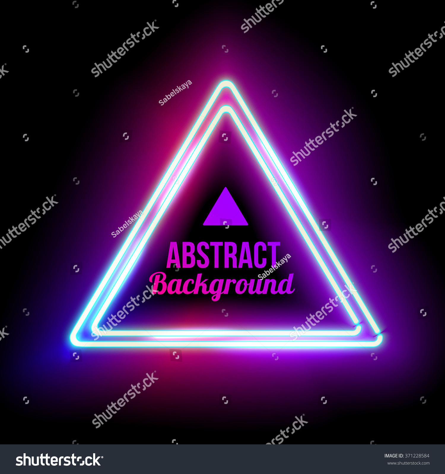 neon abstract triangle glowing frame vintage stock vector