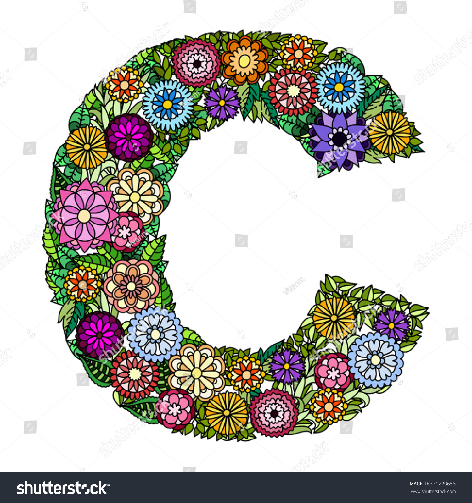 Doodle Flower Letter C Floral Element Stock Vector