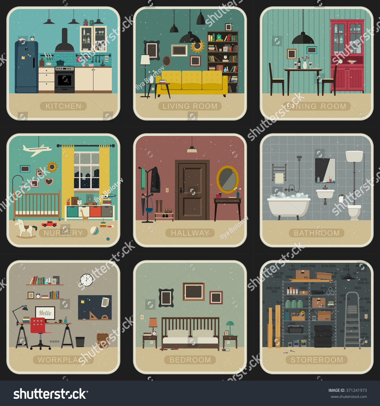 Set Of Interior Rooms In Flat Style. Vintage Illustrations Of Bathroom,  Living Room,
