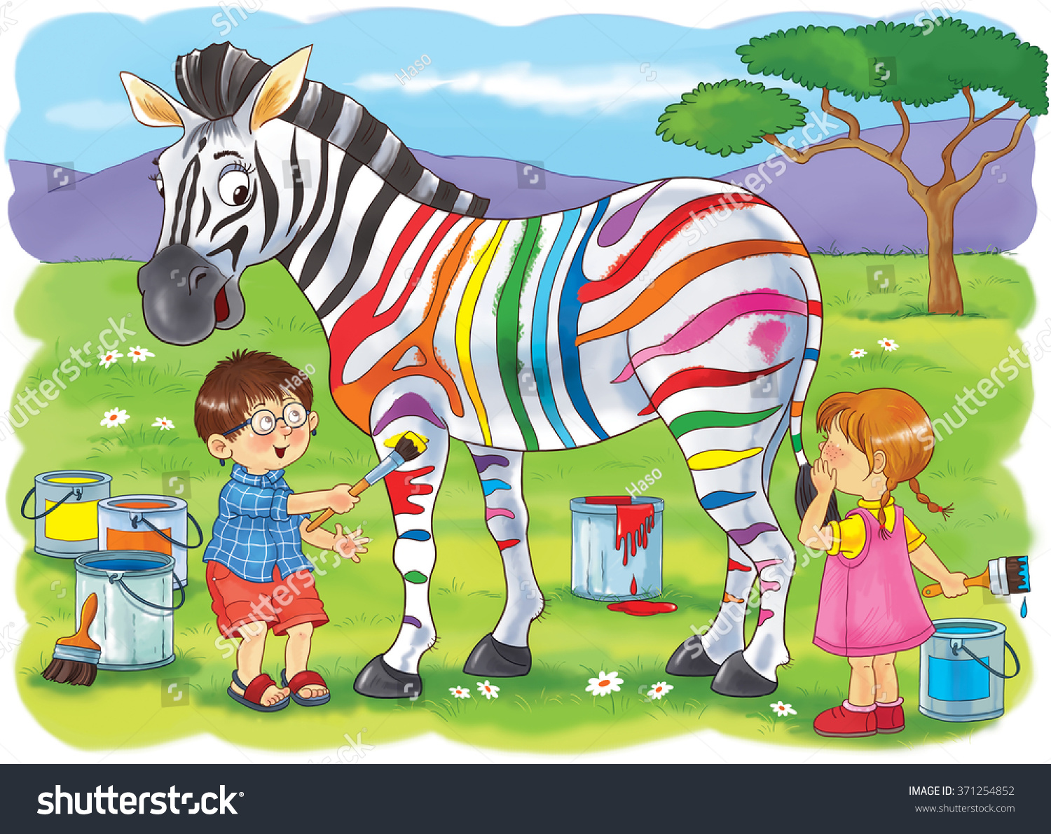 Zoo African Animals Cute Boy Girl Stock Illustration 371254852 ...