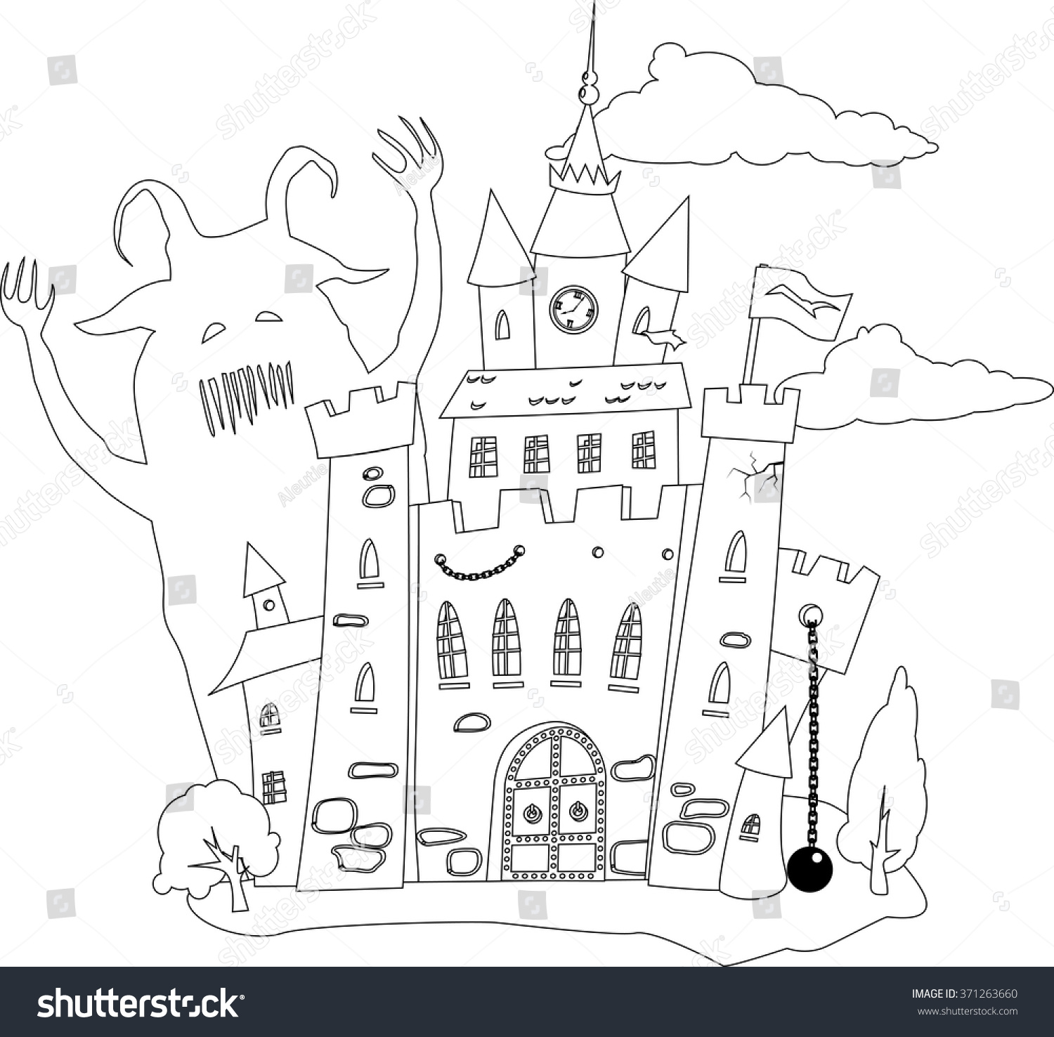 coloring book page outline fairytale castle stock vector 371263660