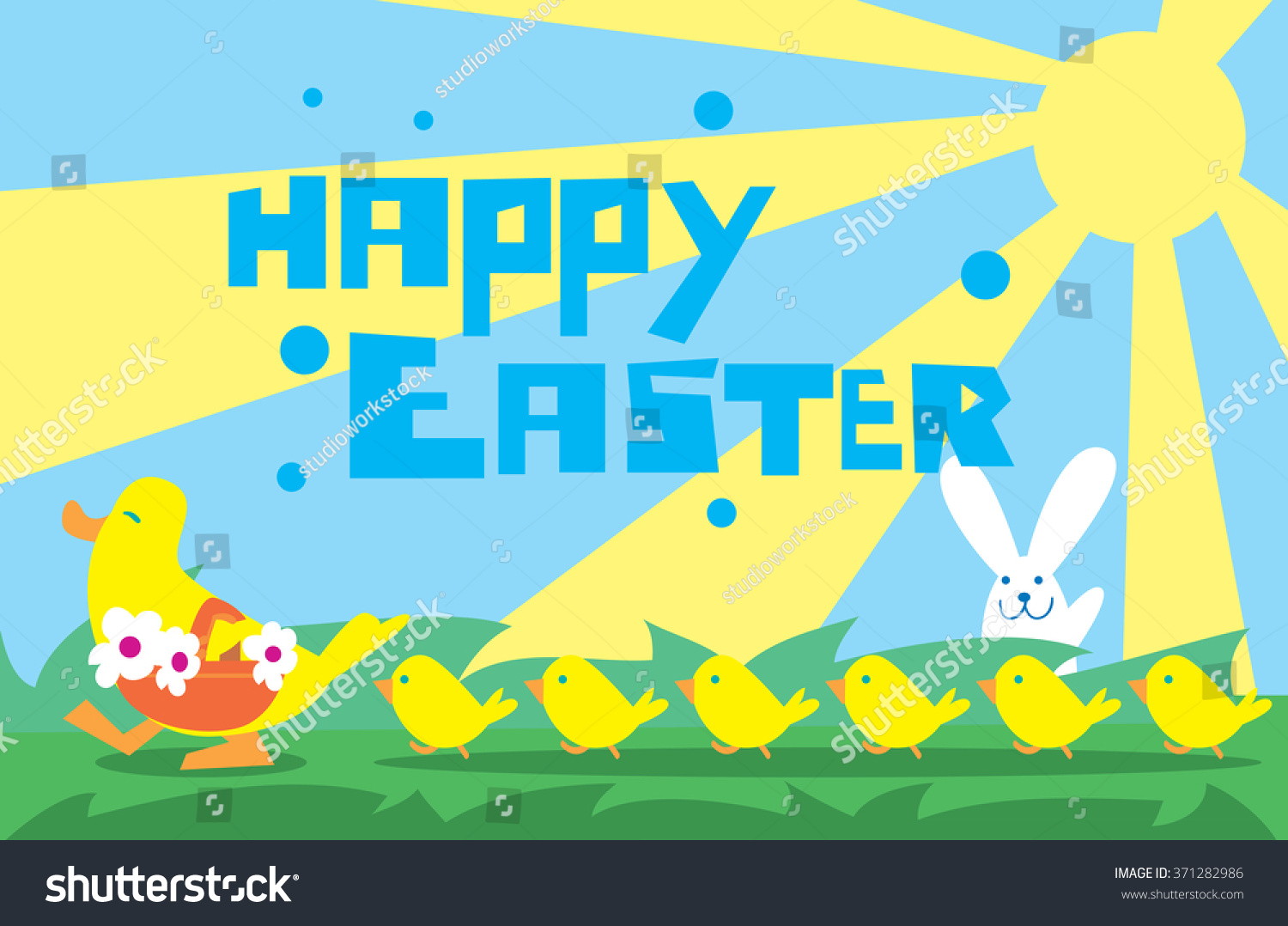Happy Easter Greeting Vector Illustration. Spring Holiday ...