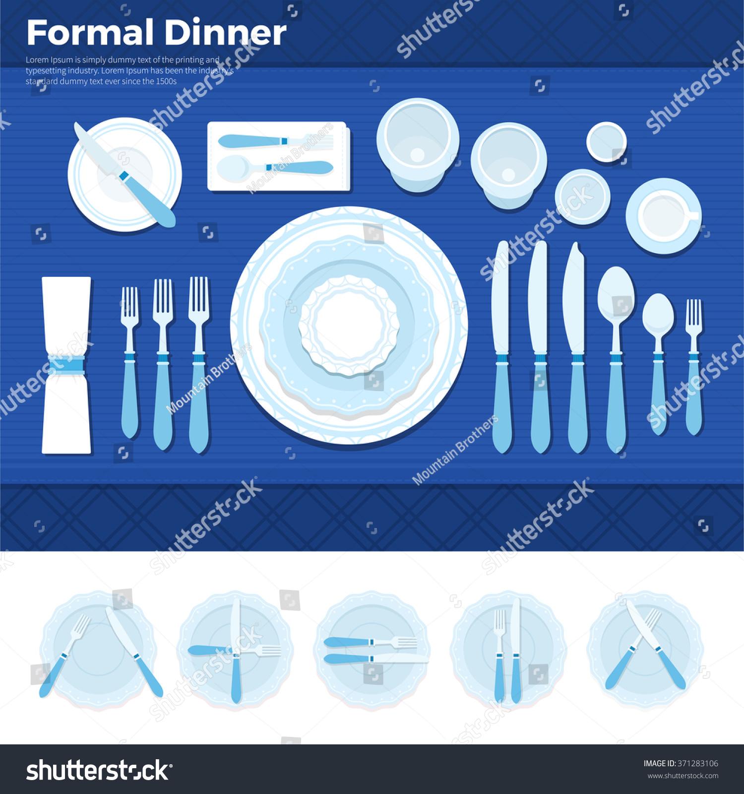 Formal dinner vector flat illustrations. Table served with utensils for formal dinner plate with  sc 1 st  Shutterstock & Formal Dinner Vector Flat Illustrations Table Stock Vector (2018 ...