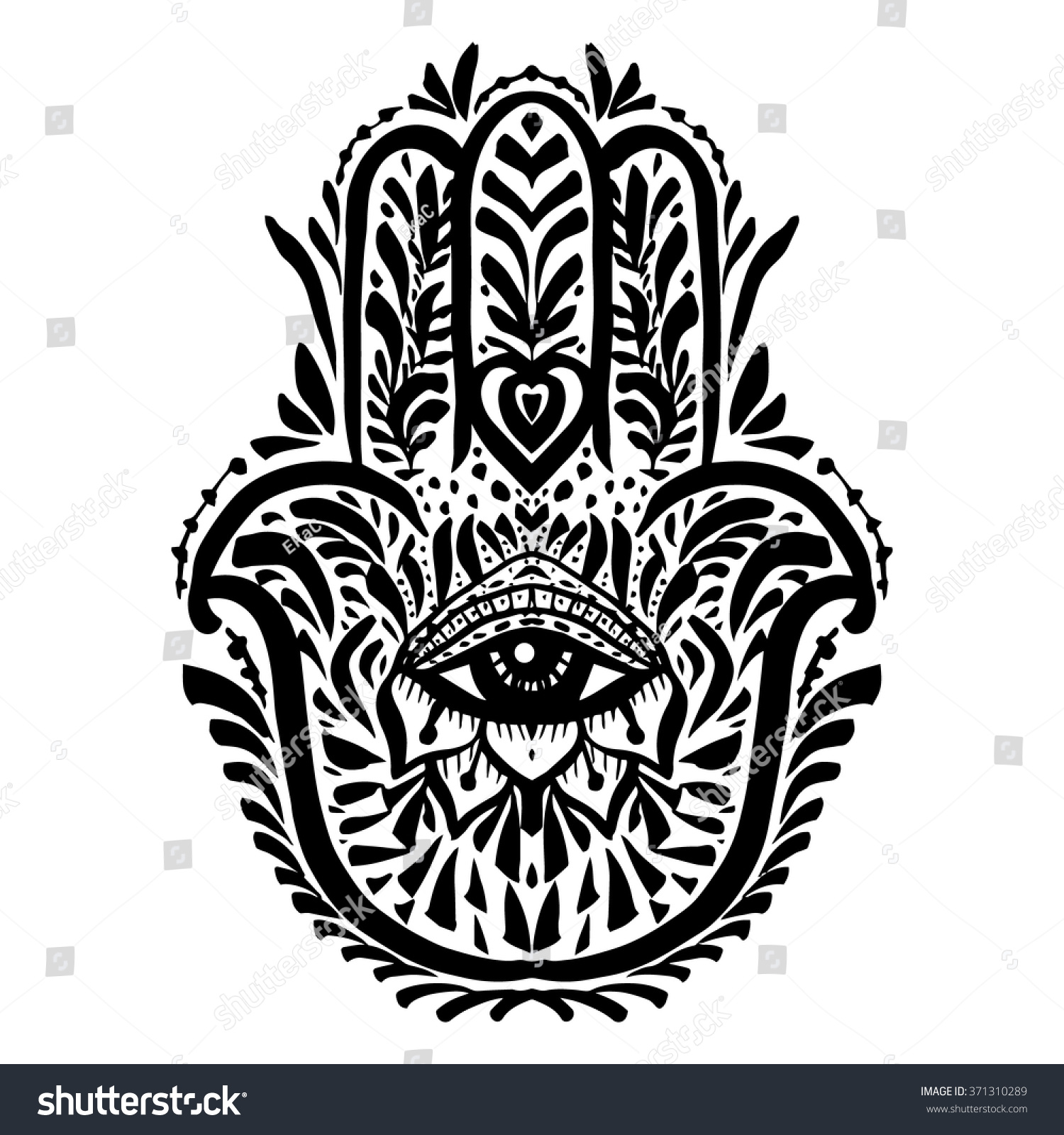 Hamsa Hand Palm Hand Drawn Divine Stock Vector Royalty Free
