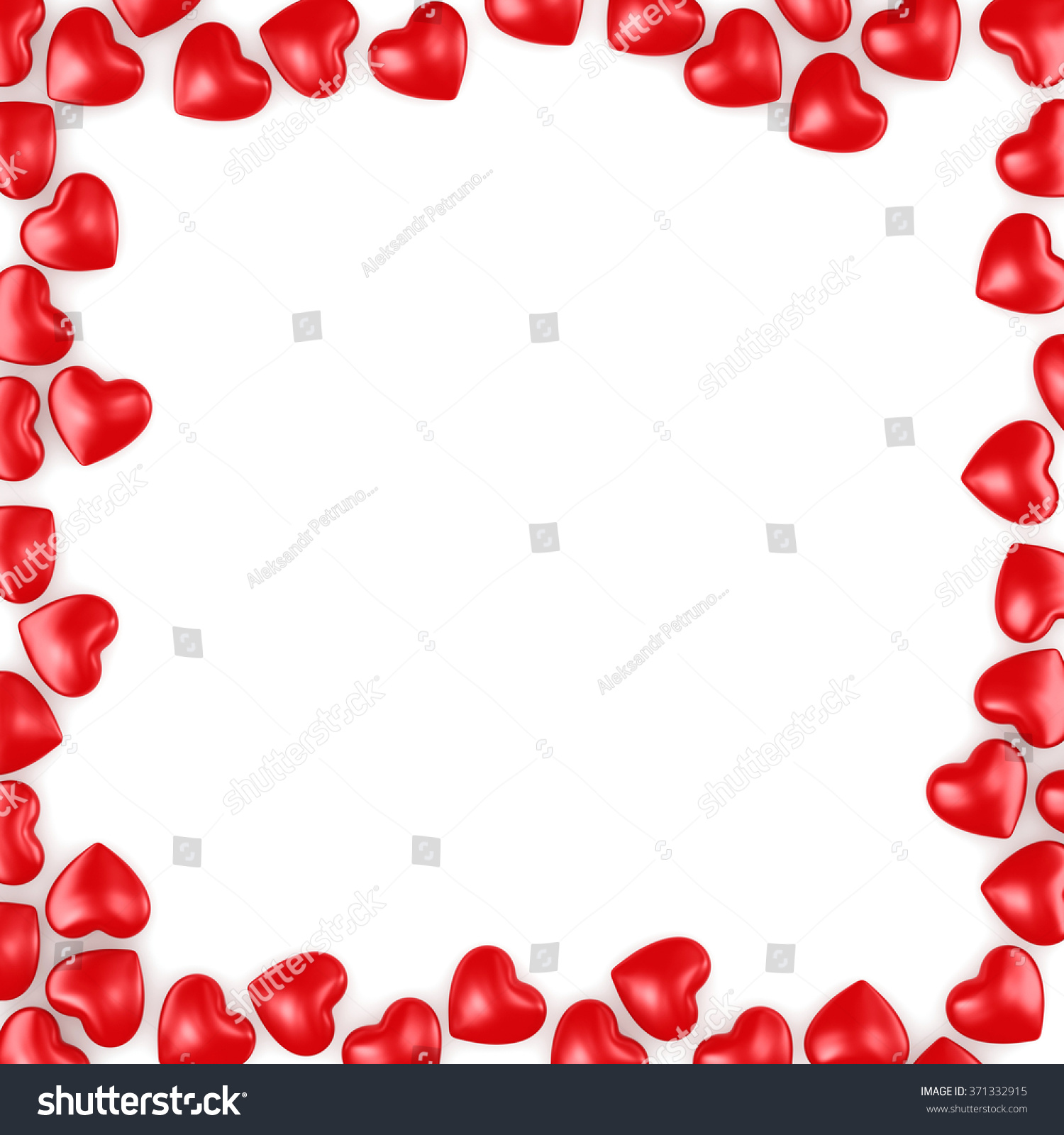 Frame Red Hearts Valentines Day Stock Illustration 371332915 ...
