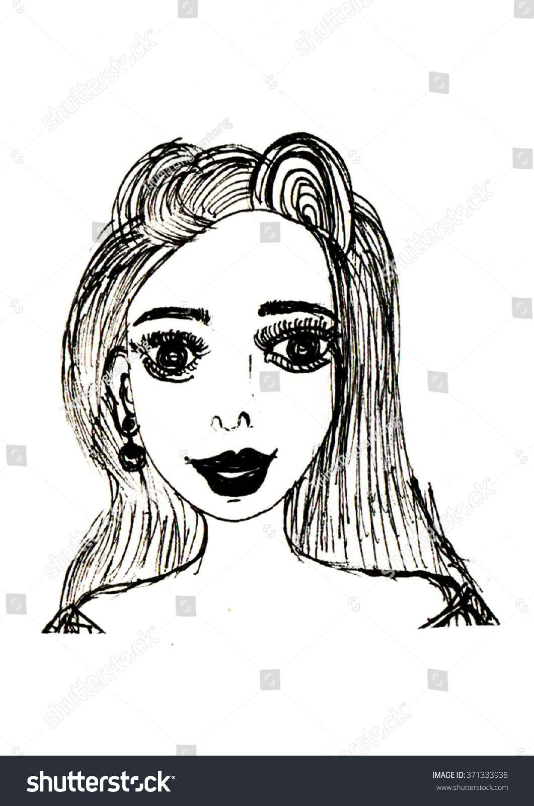 Sketch Young Woman Hand Draw Illustration Stock Illustration