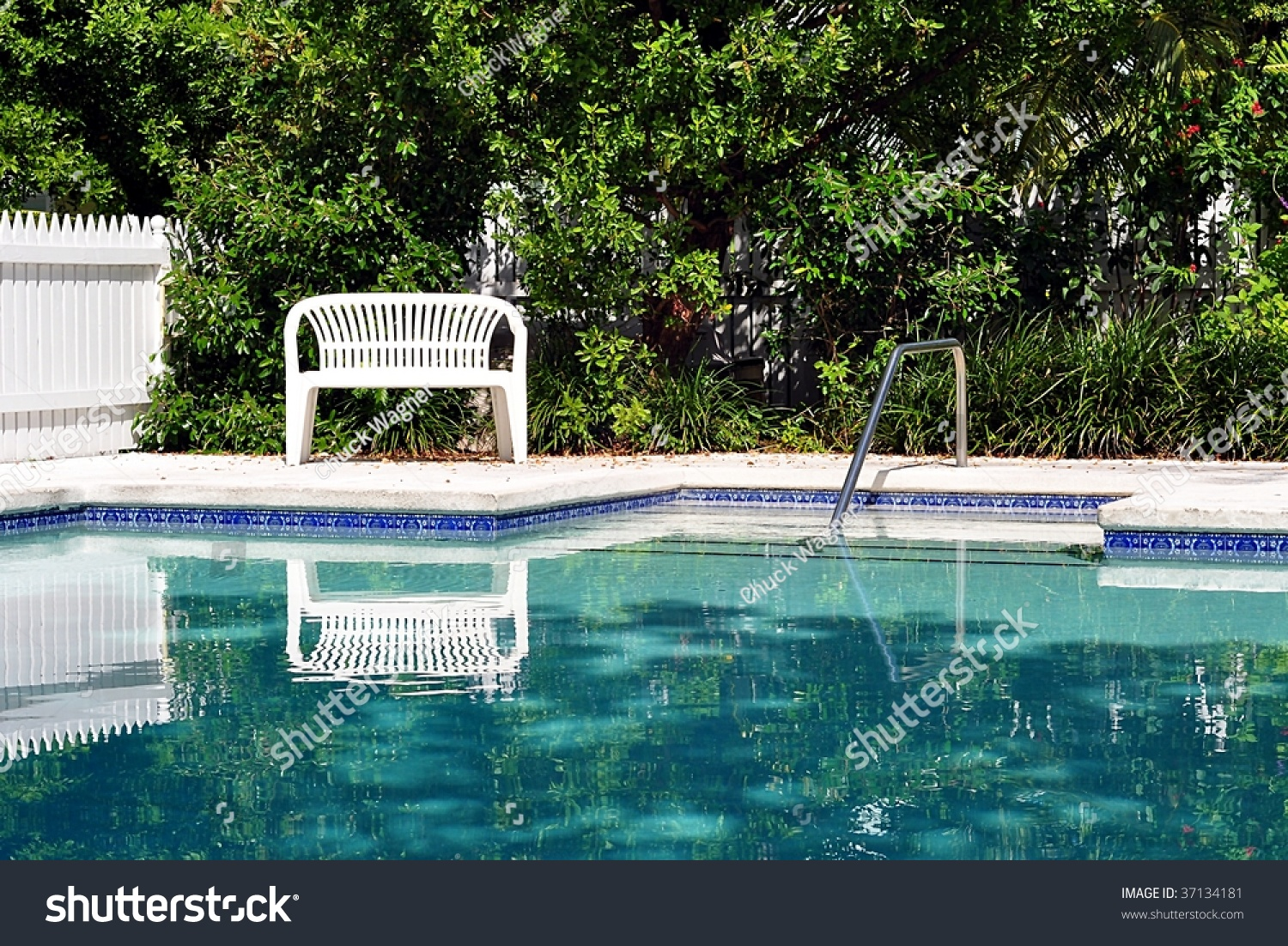 Swimming Pool With White Bench Stock Photo 37134181 Shutterstock