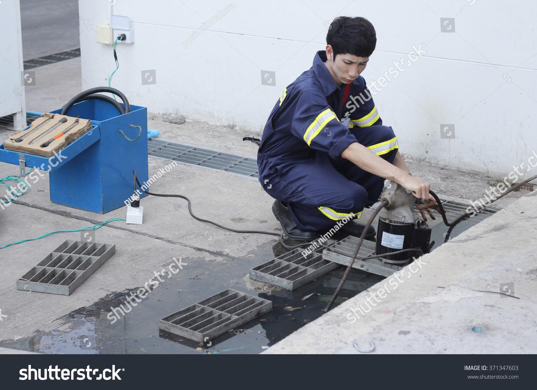 Engineer Used Plumbers Snake Machine Remove Stock Photo