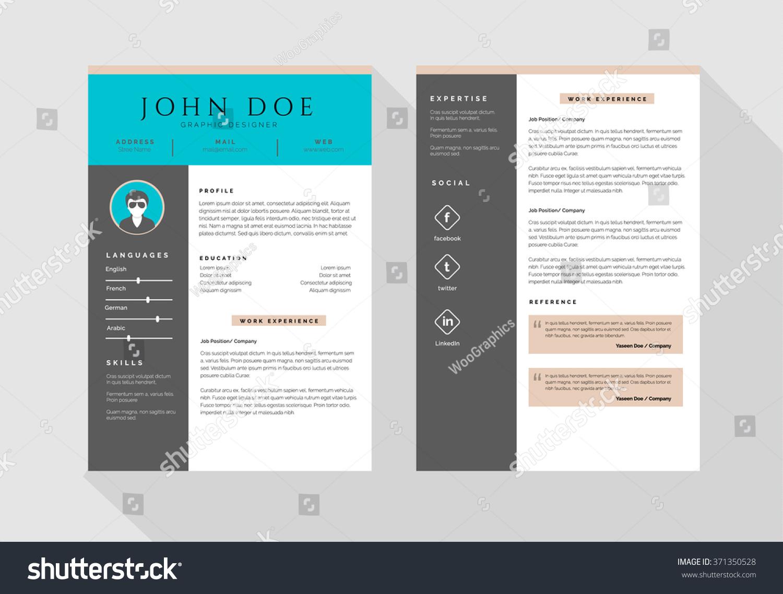 Minimalist CV Curriculum Vitae Resume Vector Vector de stock (libre ...