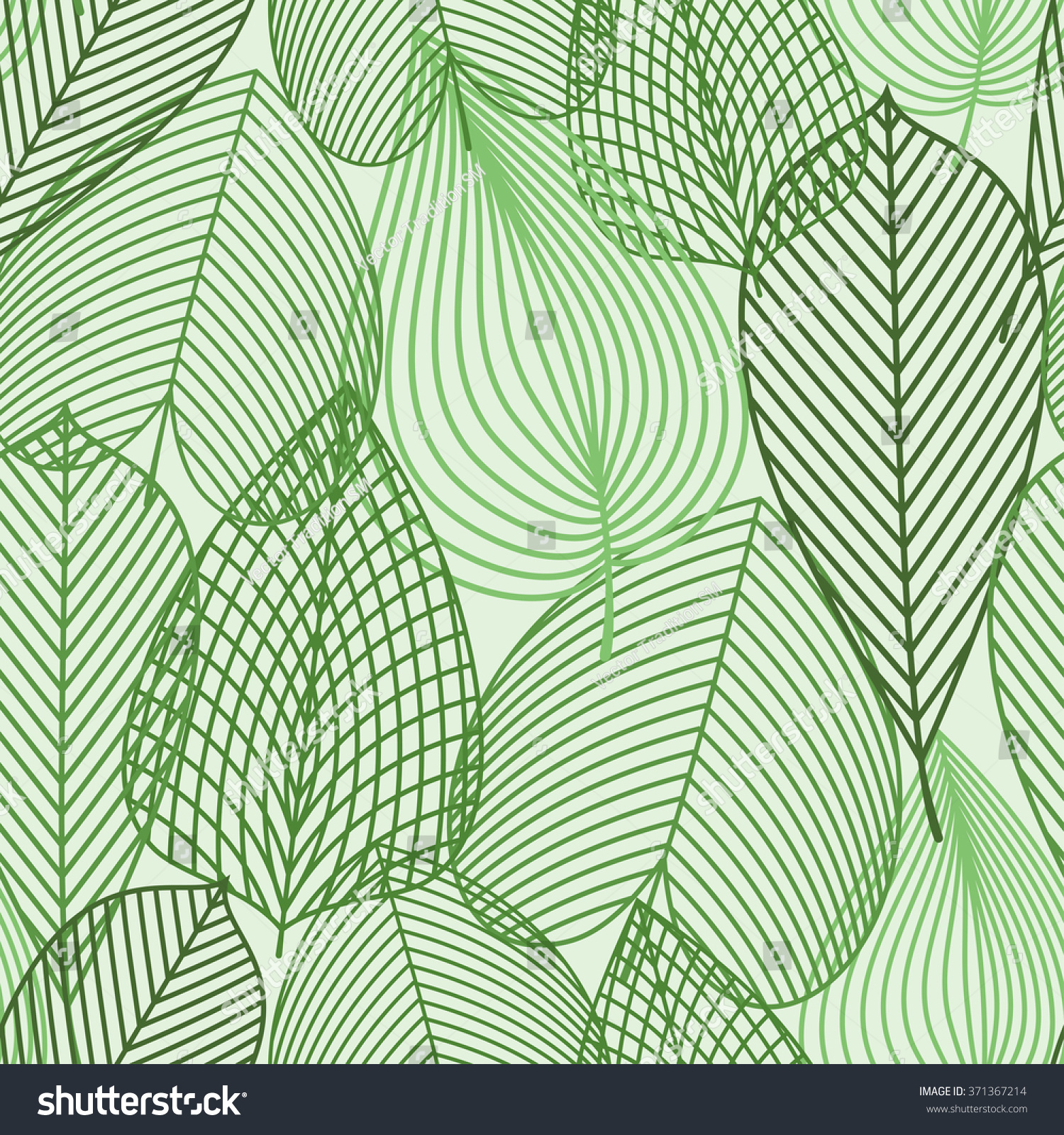 Outline Silhouettes Of Spring Green Leaves Seamless Pattern For Nature Background Or Wallpaper Design