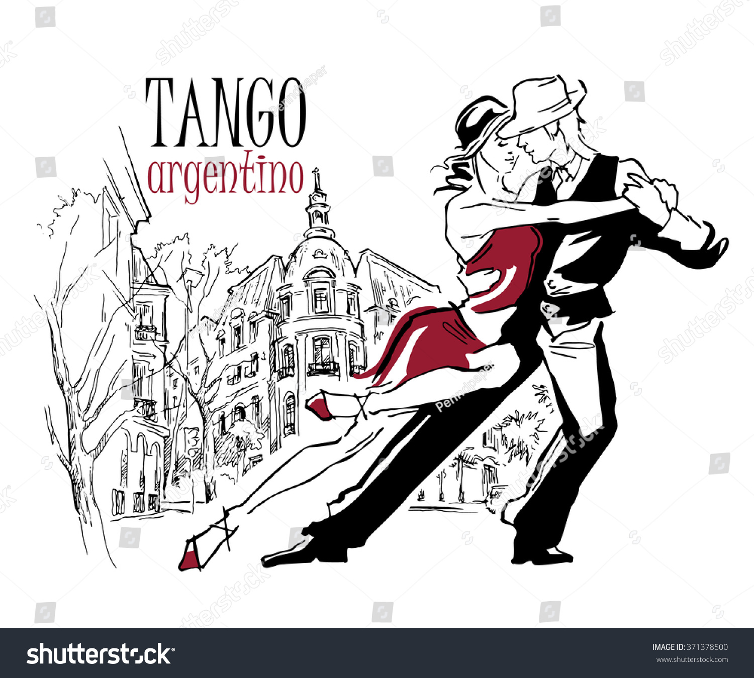 Hand Made Sketch Tango Dancers Vector Stock Royalty Free Argentine Steps Diagram Dance Figures Of Illustration Use For Studio Posters