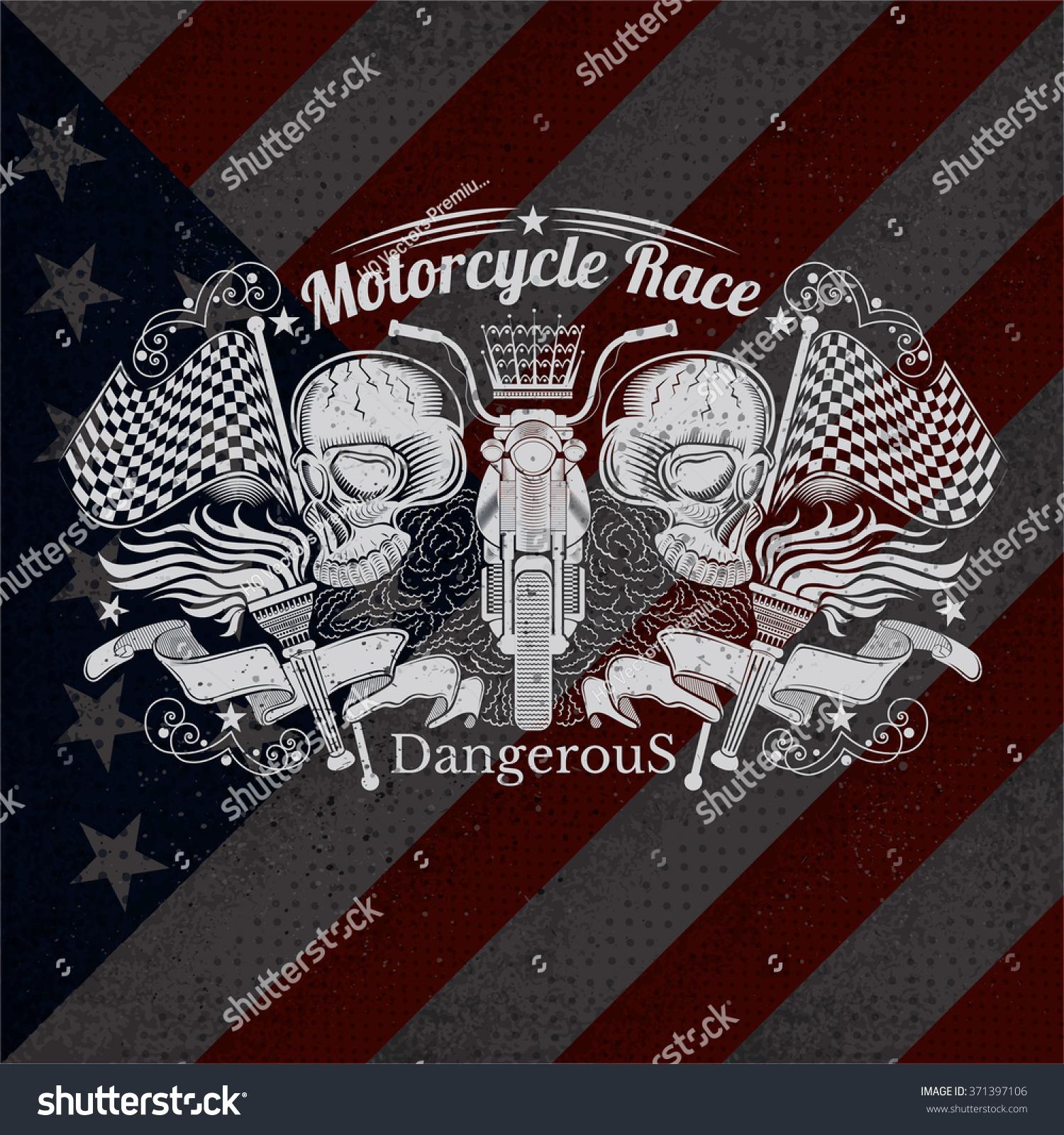 Shirt design usa - Motorcycle Graphics Illustration On Usa Flag Background T Shirt Design