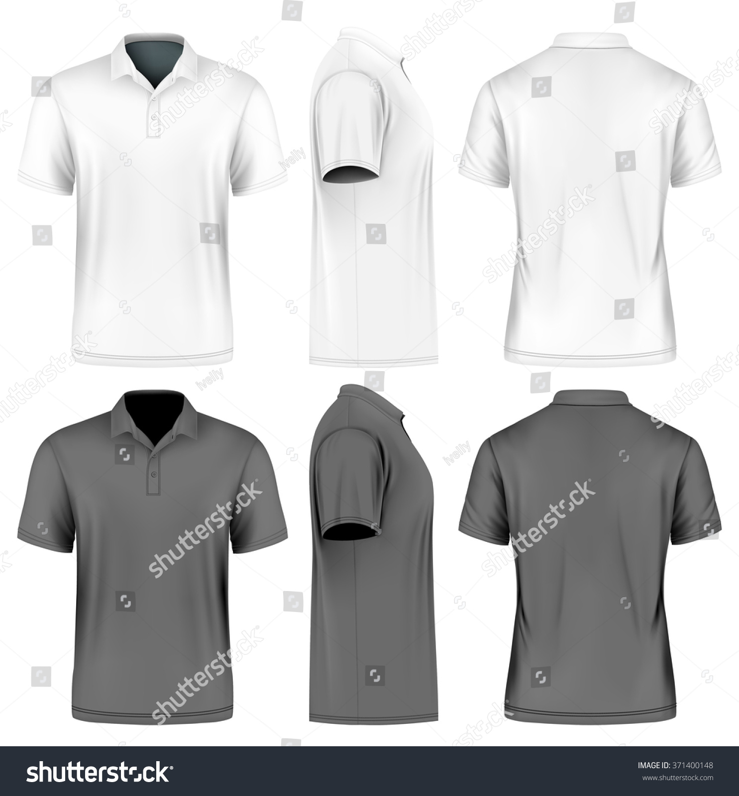 Image Result For Design Size On Front And Back Of Shirts: Mens Slimfitting Short Sleeve Polo Shirt Stock Vector