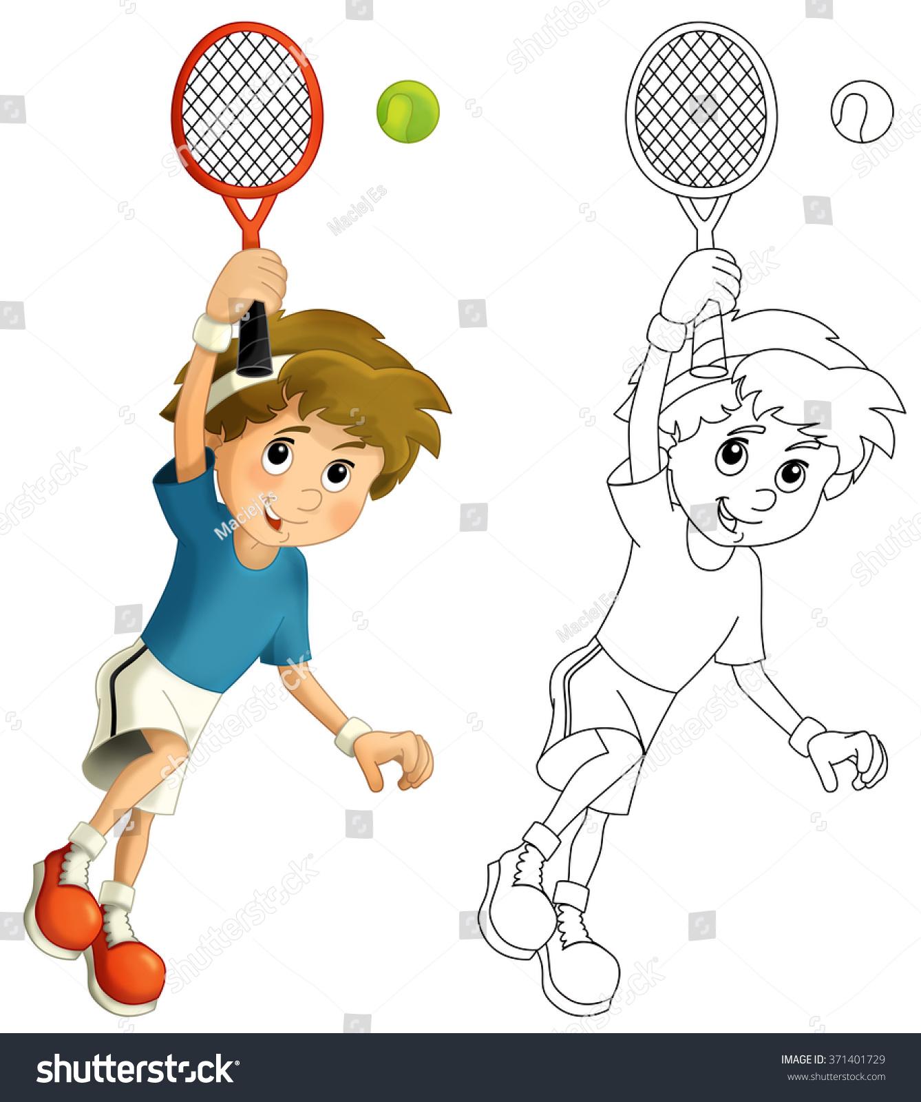 Kid Playing Tennis Jumping Racket Stock Illustration