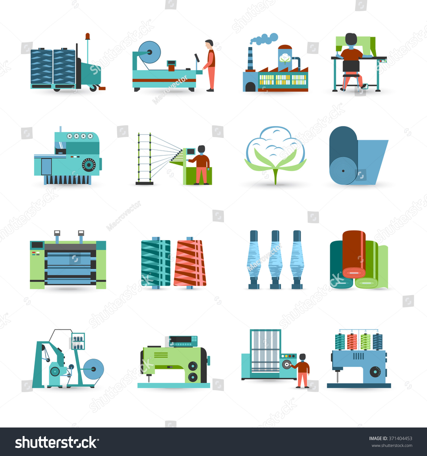 Textile manufacturing process flat icons collection stock vector textile manufacturing process flat icons collection with weaving yarn machinery equipment and clothes fabrication abstract isolated nvjuhfo Images