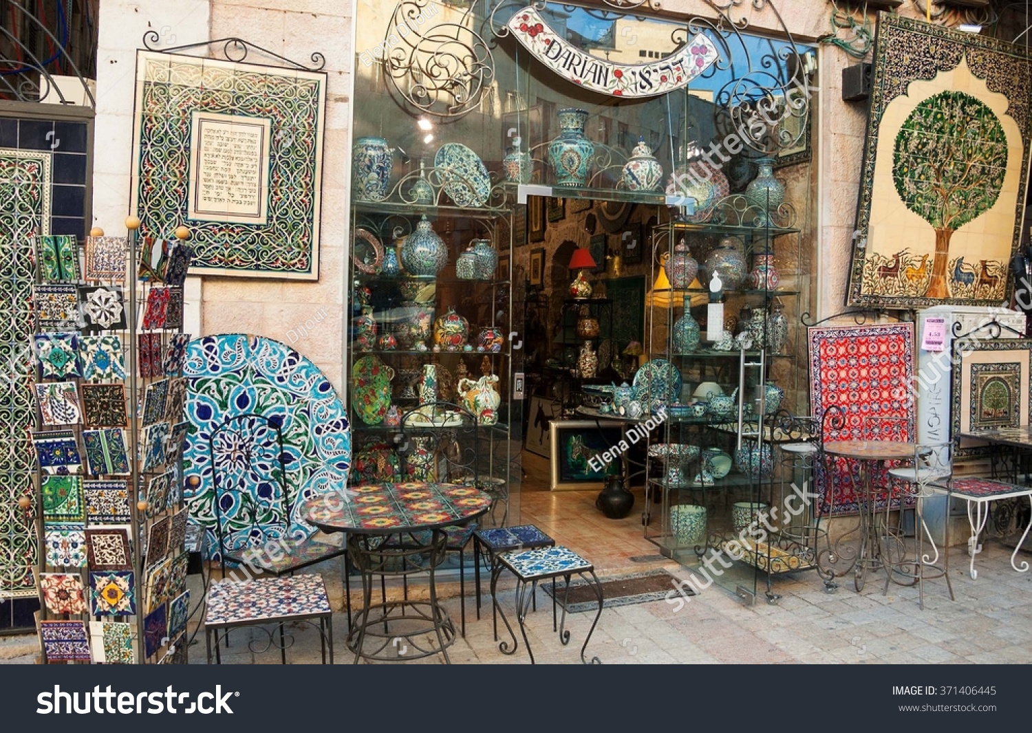 Royalty free jerusalem israel february 19 2014 371406445 jerusalem israel february 19 2014 famous hand painted ceramic tiles and pottery dailygadgetfo Gallery