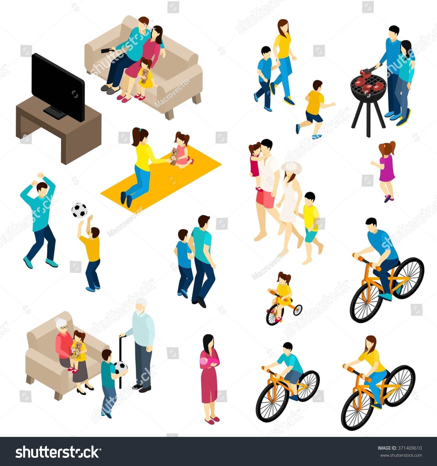 Family Games For Free : Family isometric set free time activities stock vector