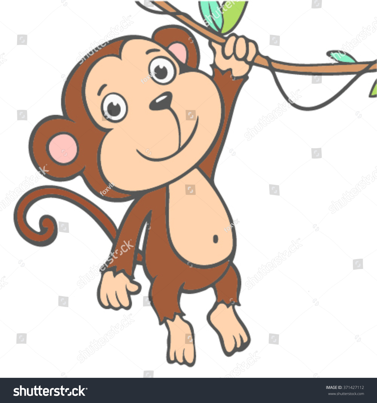 coloring kids monkey chinese new year stock vector 371427112