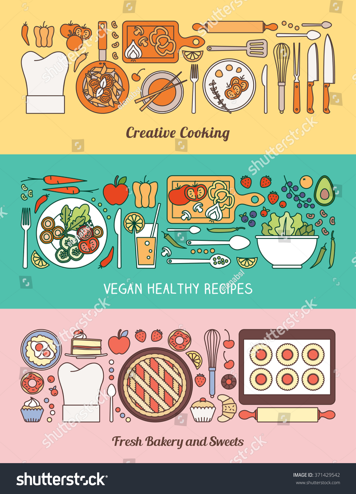 Selection of cartoons on cooking kitchens food and eating - Food Cooking And Healthy Eating Banner Set With Kitchen Utensils Recipes Vegetables And
