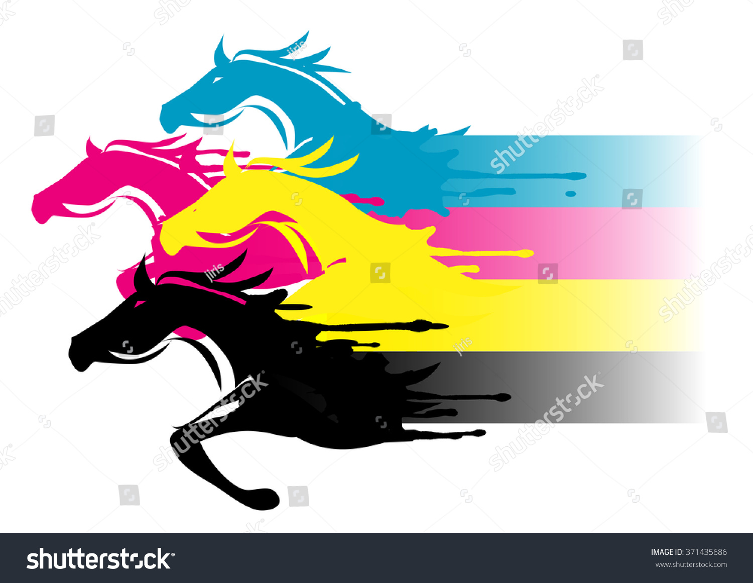 fast printing concept four running horses in the print colors concept for presenting of