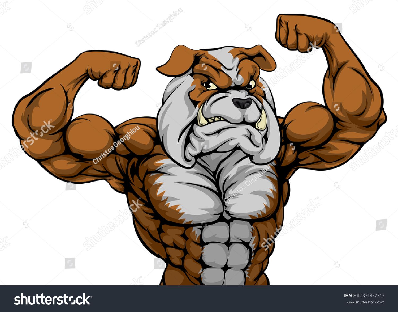 Royalty Free Cartoon Tough Mean Strong Bulldog 371437747 Stock