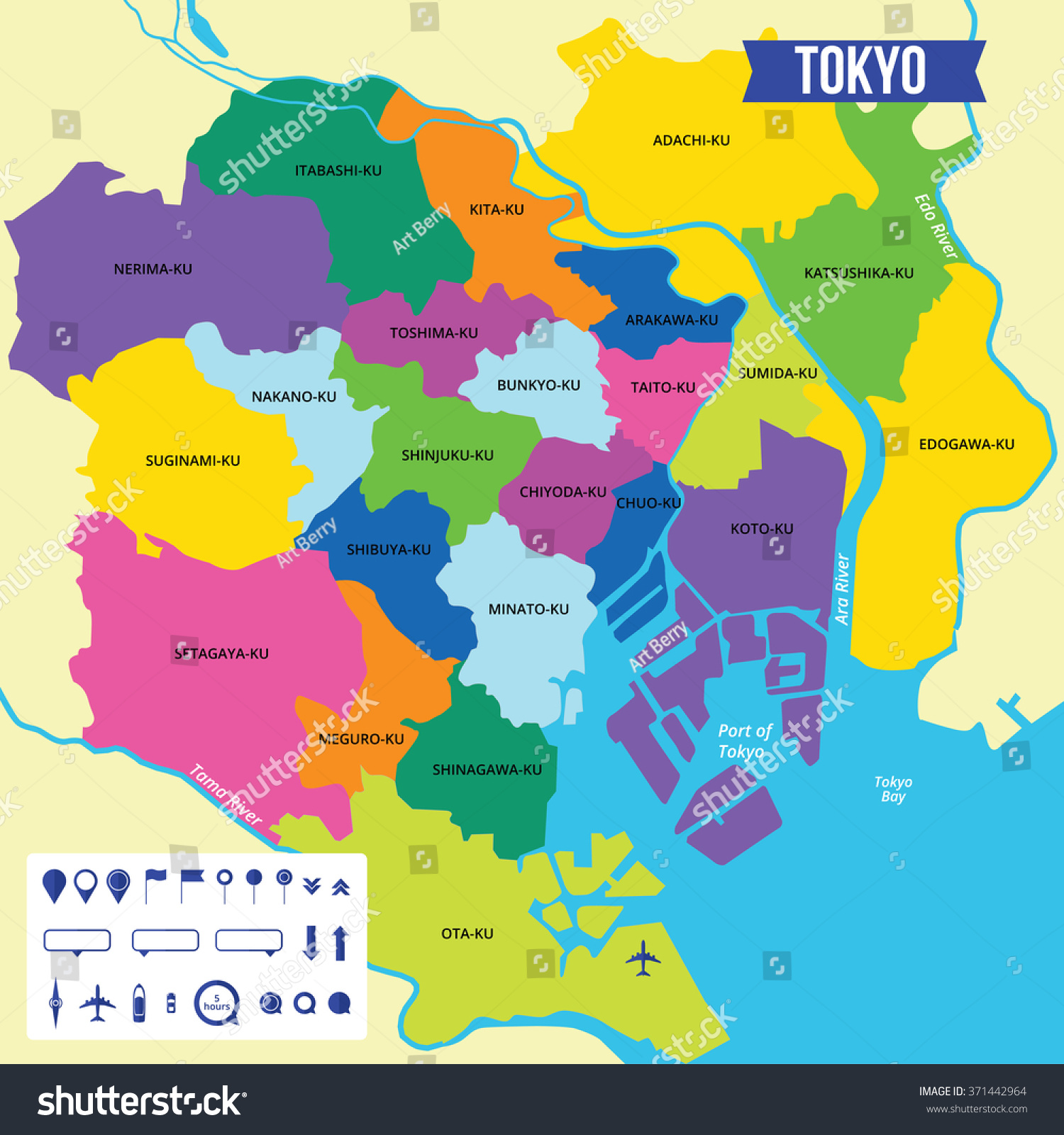Where Is Tokyo Located On The World Map.Vector Color Map Tokyo Capital Japan Stock Vector Royalty Free