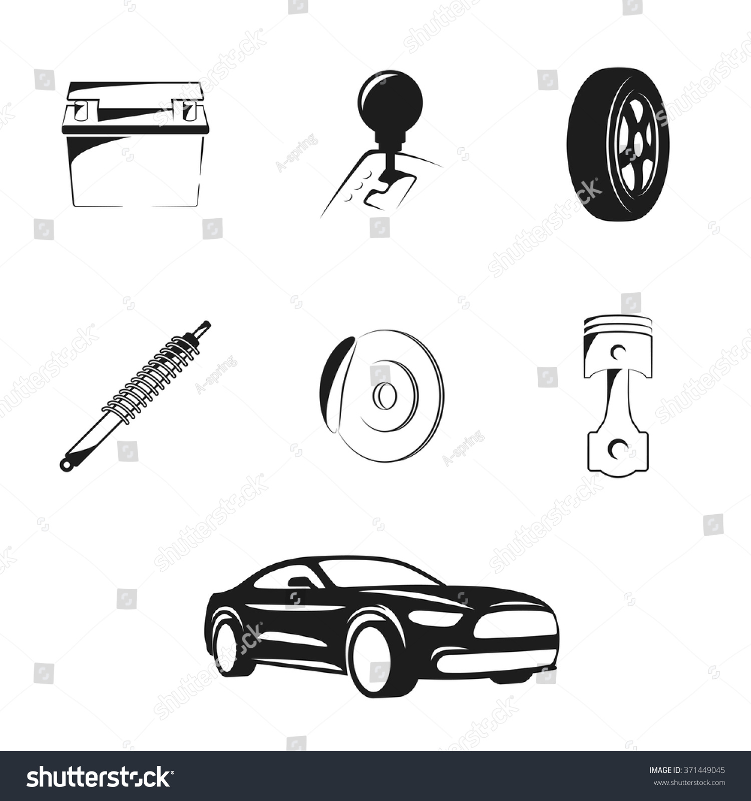 Set Isolated Icons On Theme Car Stock Vector 371449045 - Shutterstock