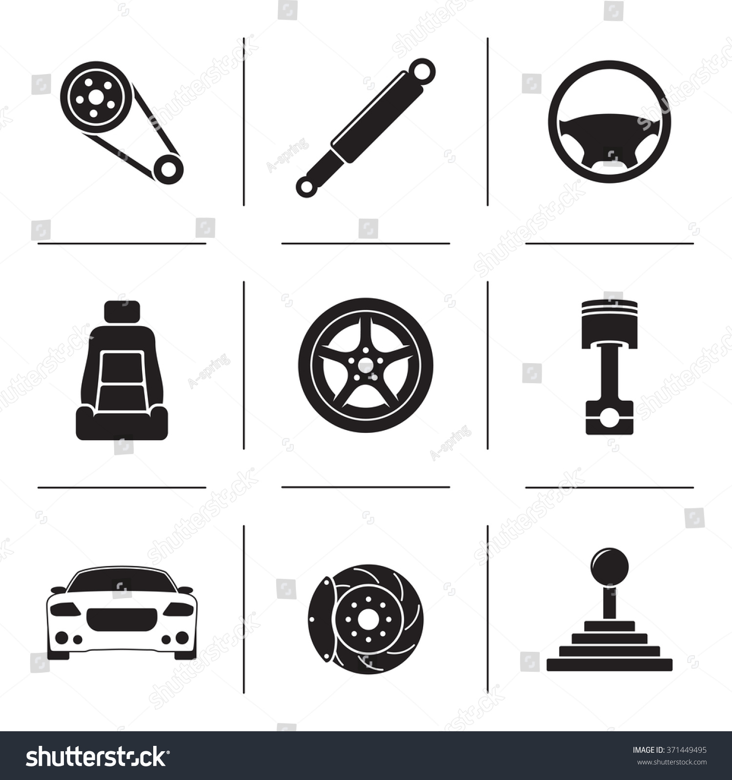 Set Isolated Icons On Theme Car Stock Vector 371449495 - Shutterstock