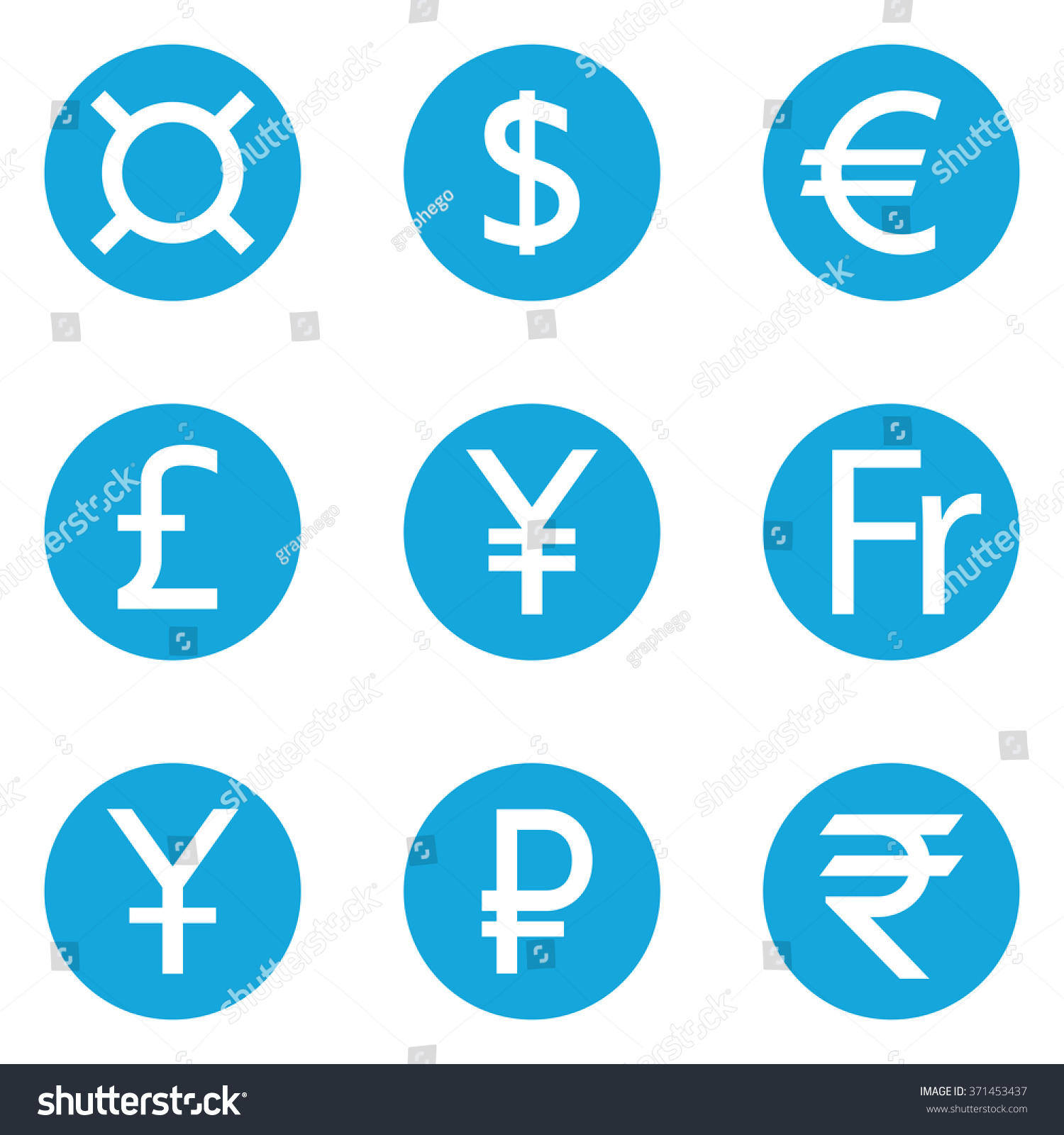World currency symbols flat solid icons stock vector 371453437 world currency symbols flat solid icons isolated on white background dollar euro pound biocorpaavc Image collections