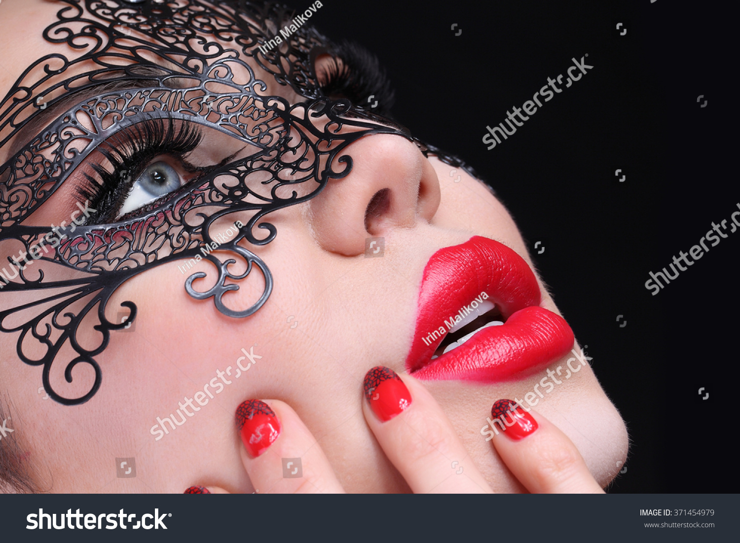 Beautiful Woman Black Mask Over Her Stock Photo (100% Legal ...