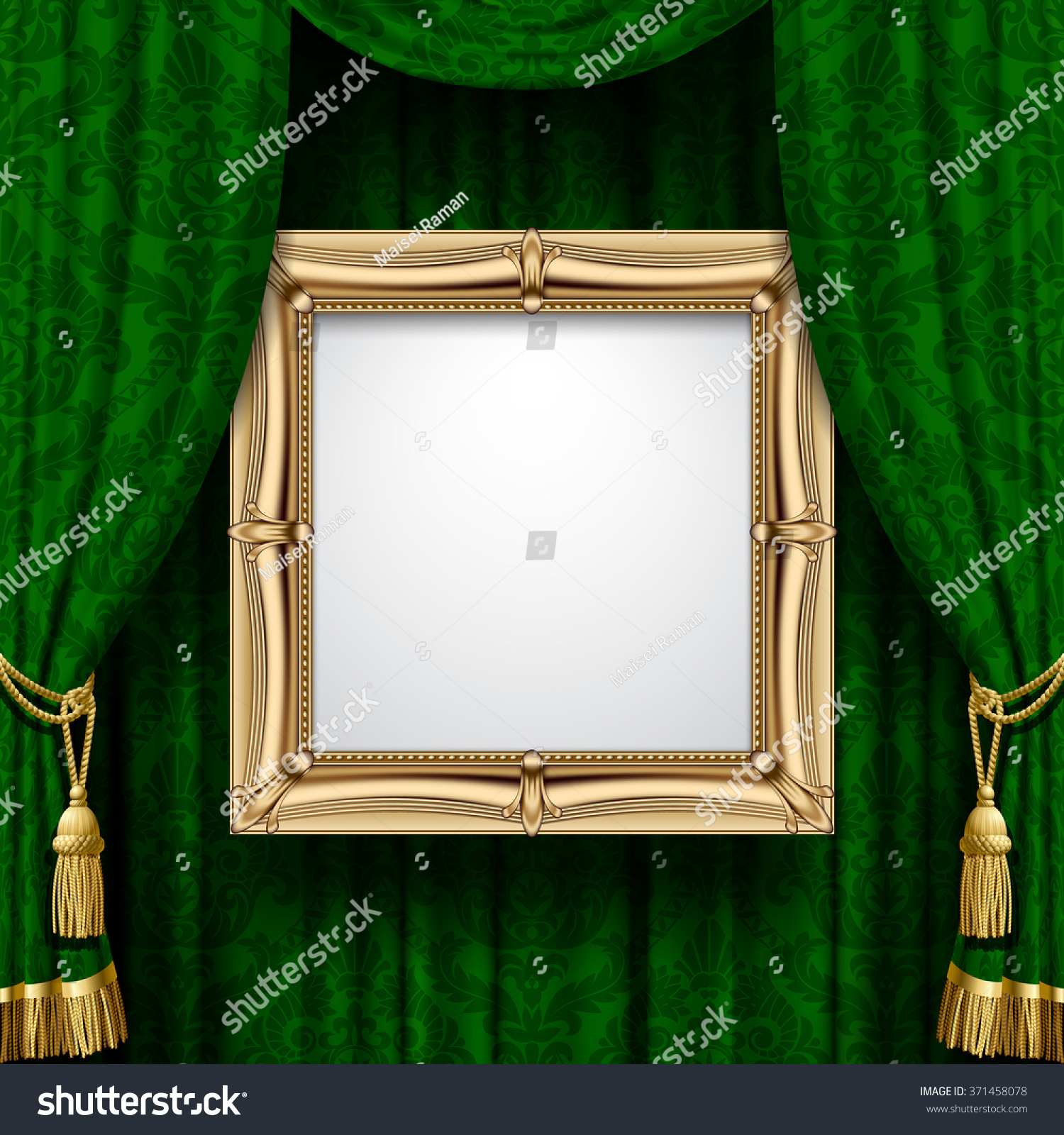 suspended gold frame on the ornamental green curtain background square presentation artistic poster and placard