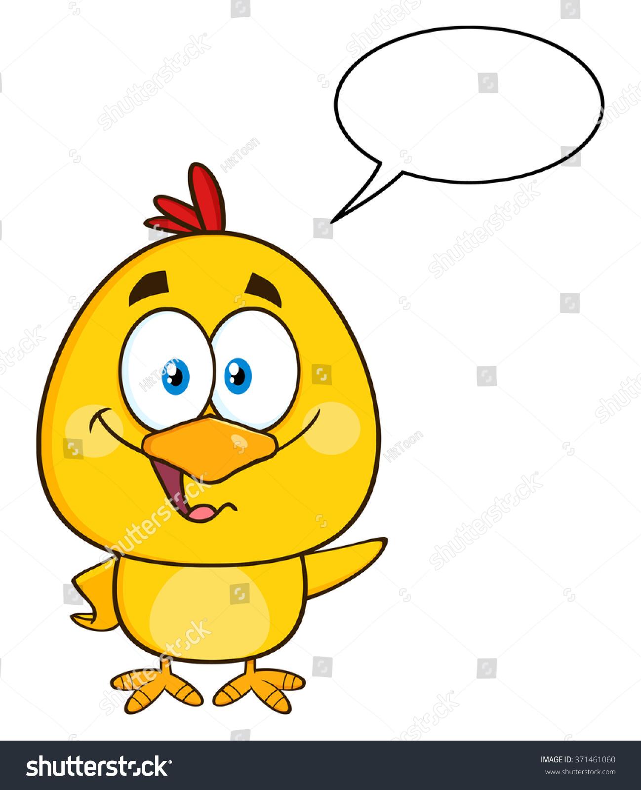cute yellow chick cartoon character waving stock vector