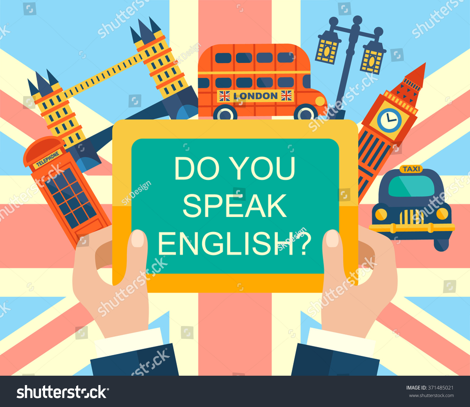 Character Design Course London : Do you speak english course banner stock vector