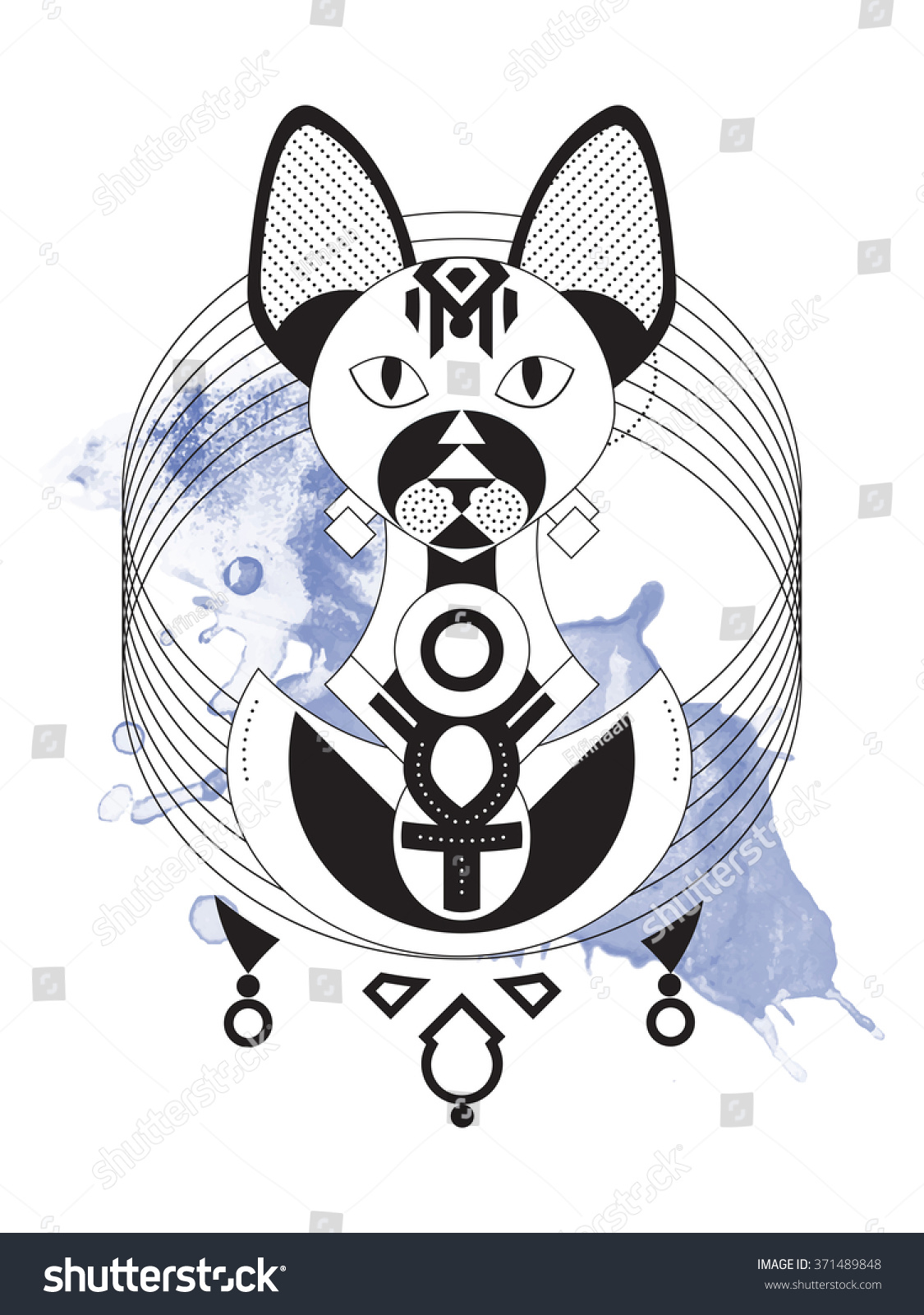 Geometric illustration stylized sphynx cat ancient stock vector geometric illustration of stylized sphynx cat from ancient egypt goddess bastet wearing ankh necklace biocorpaavc