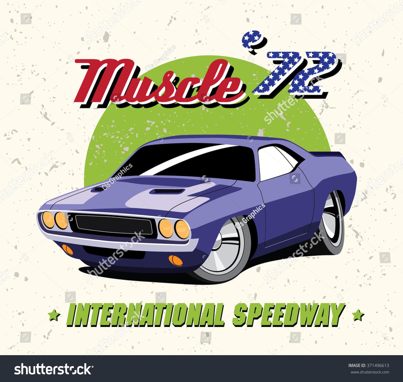 Vector Illustration Vintage Purple Muscle Car Stock Vector ...