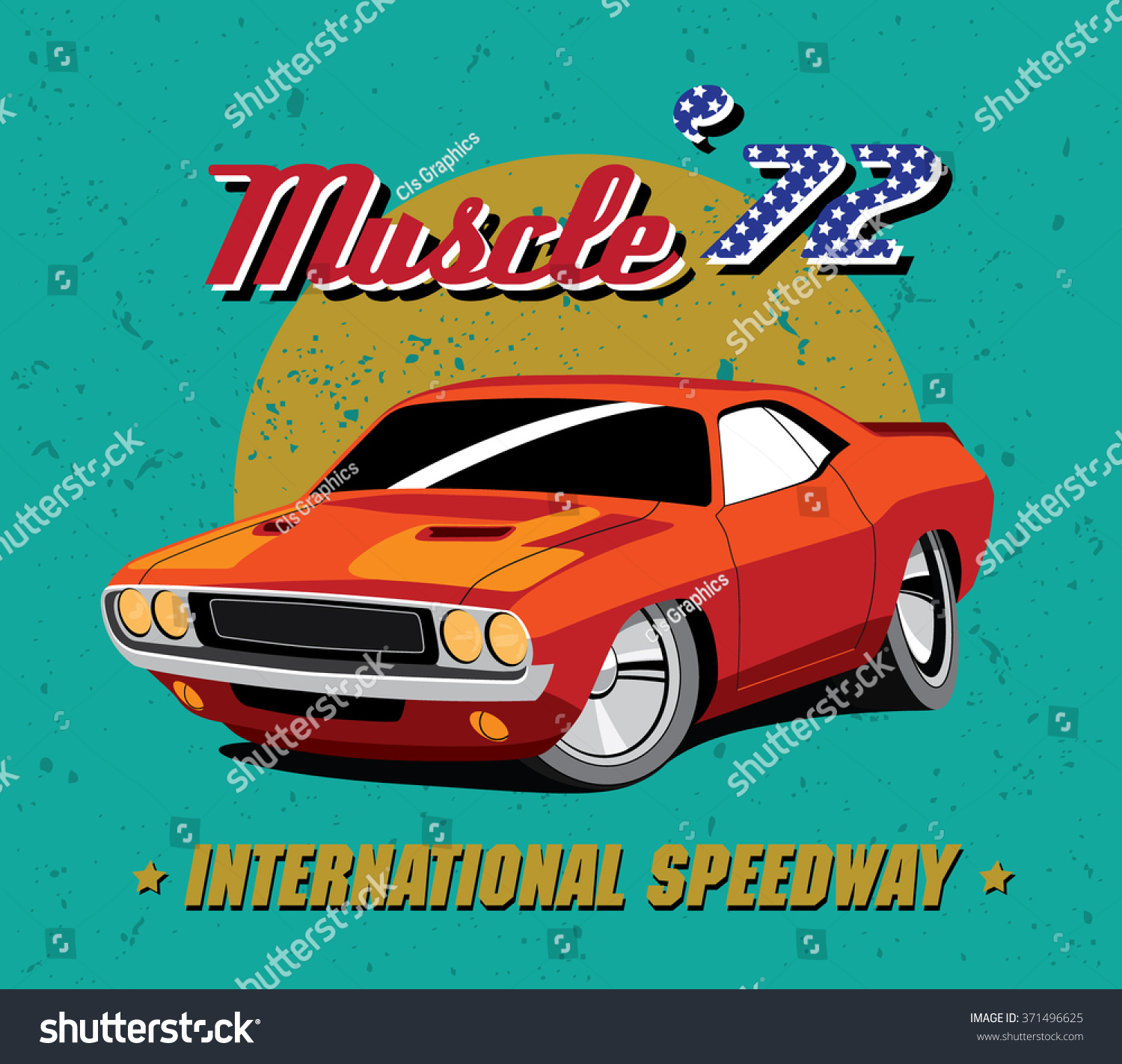 Vector Illustration Vintage Red Muscle Car Stock Vector 371496625 ...