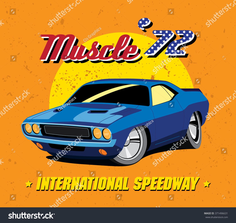 Vector Illustration Vintage Blue Muscle Car Stock Vector 371496631 ...