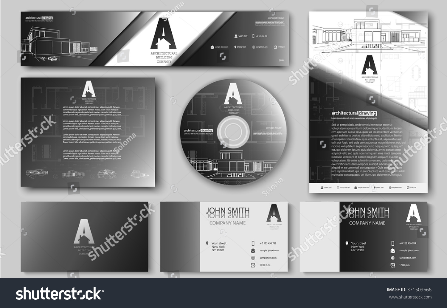 Business cards design blueprint sketch architectural stock vector business cards design blueprint sketch architectural stock vector 371509666 shutterstock malvernweather Choice Image