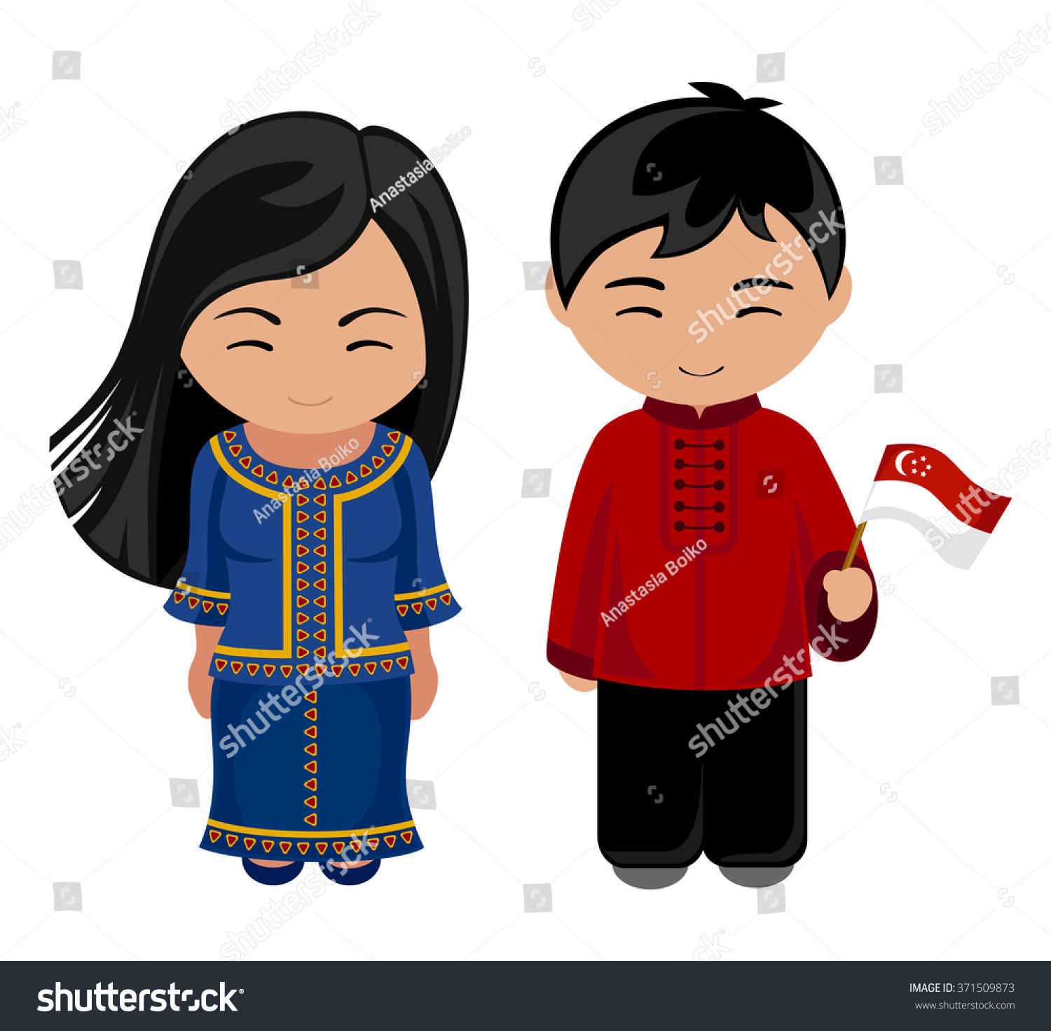 Welcome World League Of Beauty And Fashion Official Web: Singaporeans National Dress Flag Man Woman Stock Vector