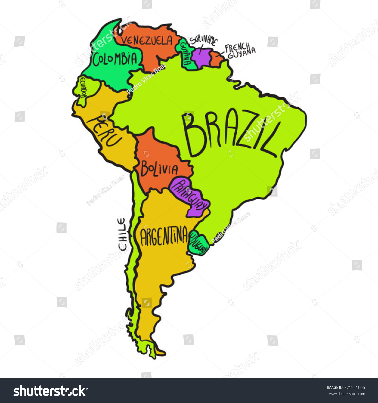 Cartoon Map South America Stock Vector Royalty Free 371521006