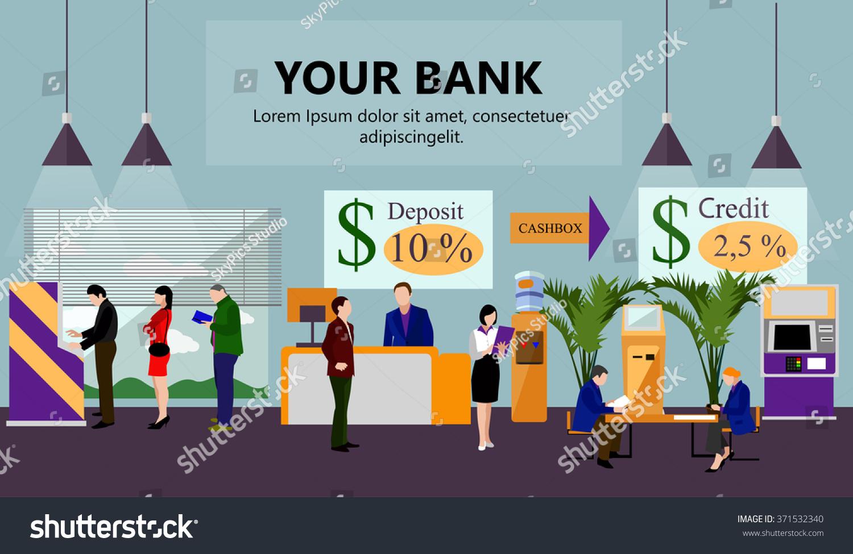 horizontal vector banner bank interiors finance stock vector horizontal vector banner bank interiors finance and money concept flat cartoon illustration
