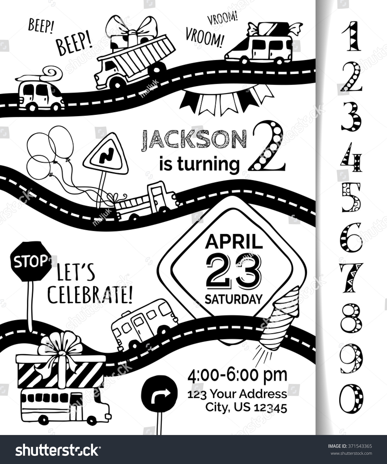 Vector birthday invitation template boy handdrawn stock vector vector birthday invitation template for boy hand drawn doodles cars and traffic signs stopboris Image collections
