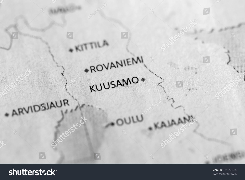 Closeup Kuusamo Finland On Political Map Stock Photo Royalty Free