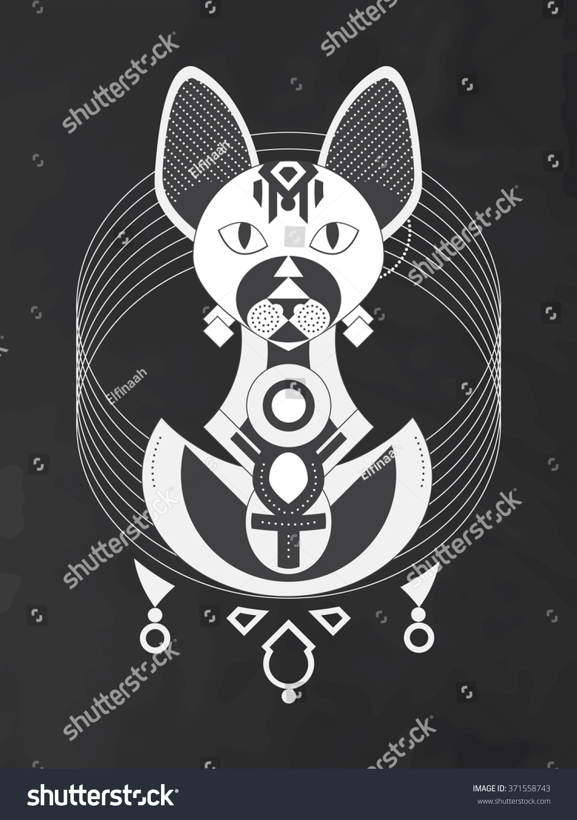 Geometric Illustration Stylized Sphynx Cat Ancient Stock Vector