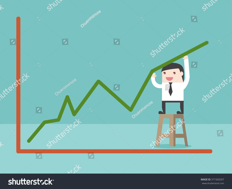 Businessman Make Growing Graph Flat Design Stock Vector