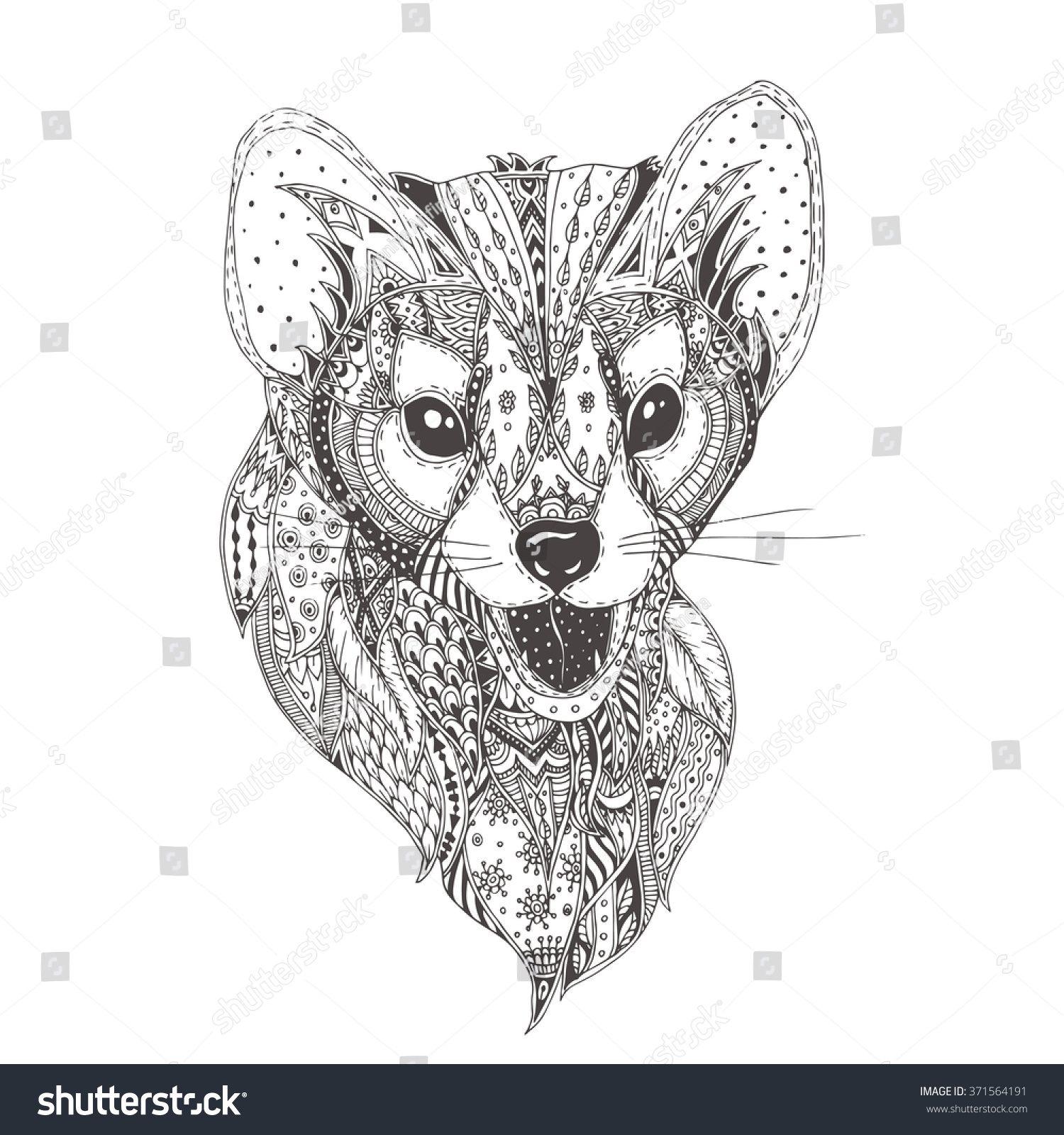 Uncategorized Ferret Coloring Pages handdrawn ferret ethnic floral doodle pattern stock vector hand drawn with coloring page zendala design