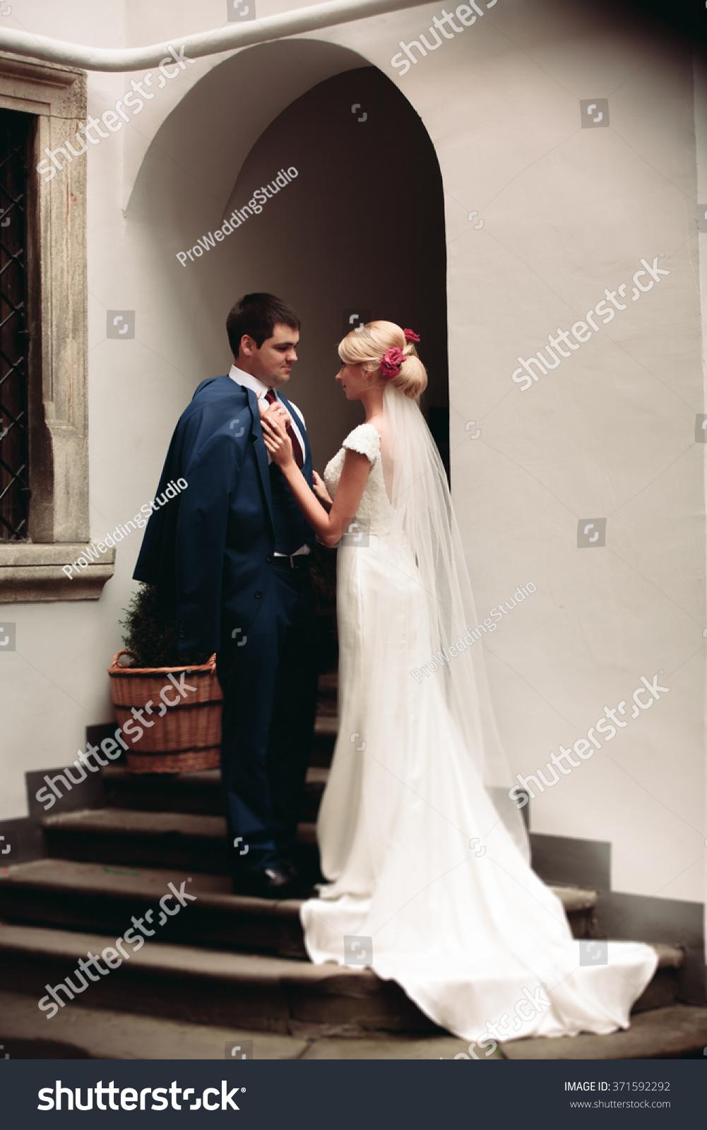 romantic wedding couple man wife posing stock photo 371592292