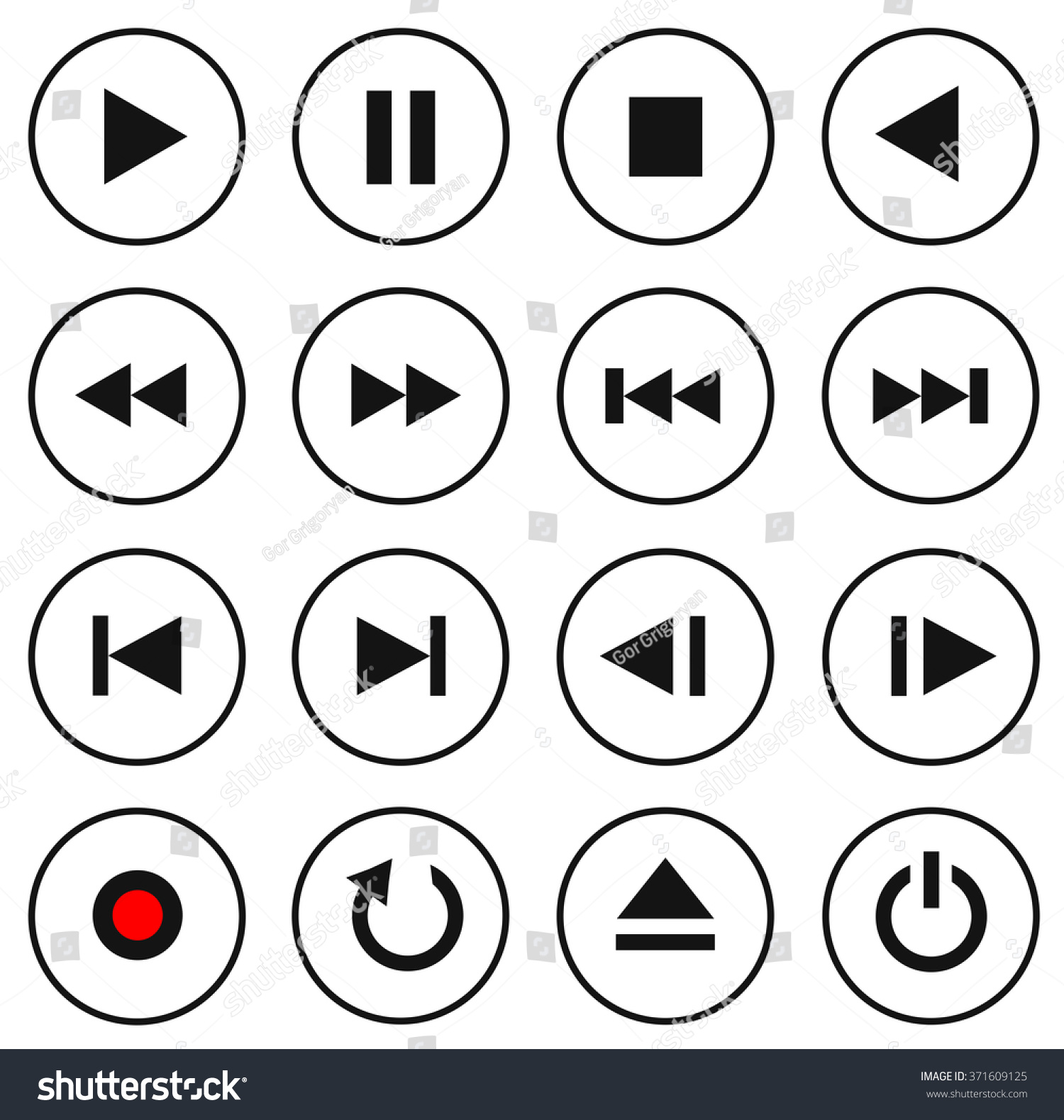 2eebdfde89 Black White Multimedia Control Buttonicon Set Stock Vector (Royalty ...